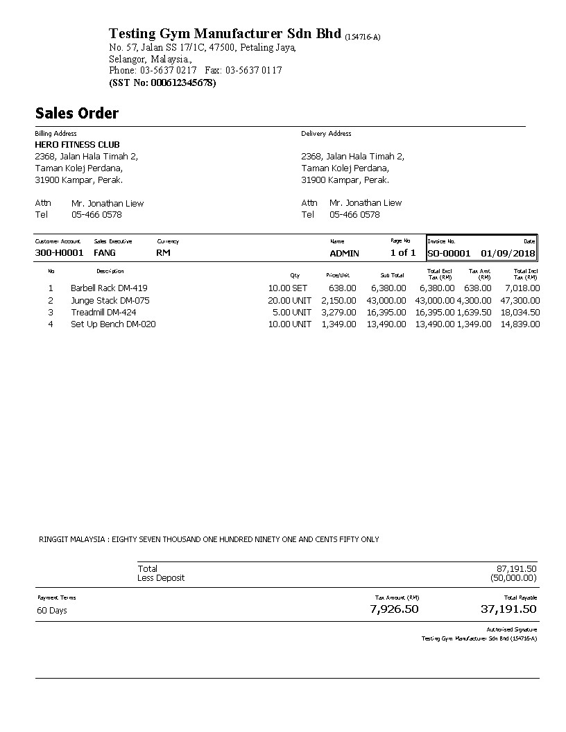 001 Sales Order Tax With Deposit SST